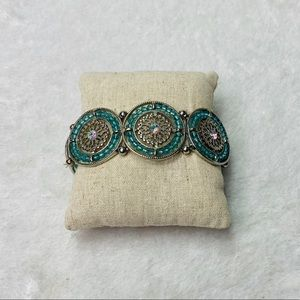 Medallion Teal and Silver Beaded Stretch Bracelet